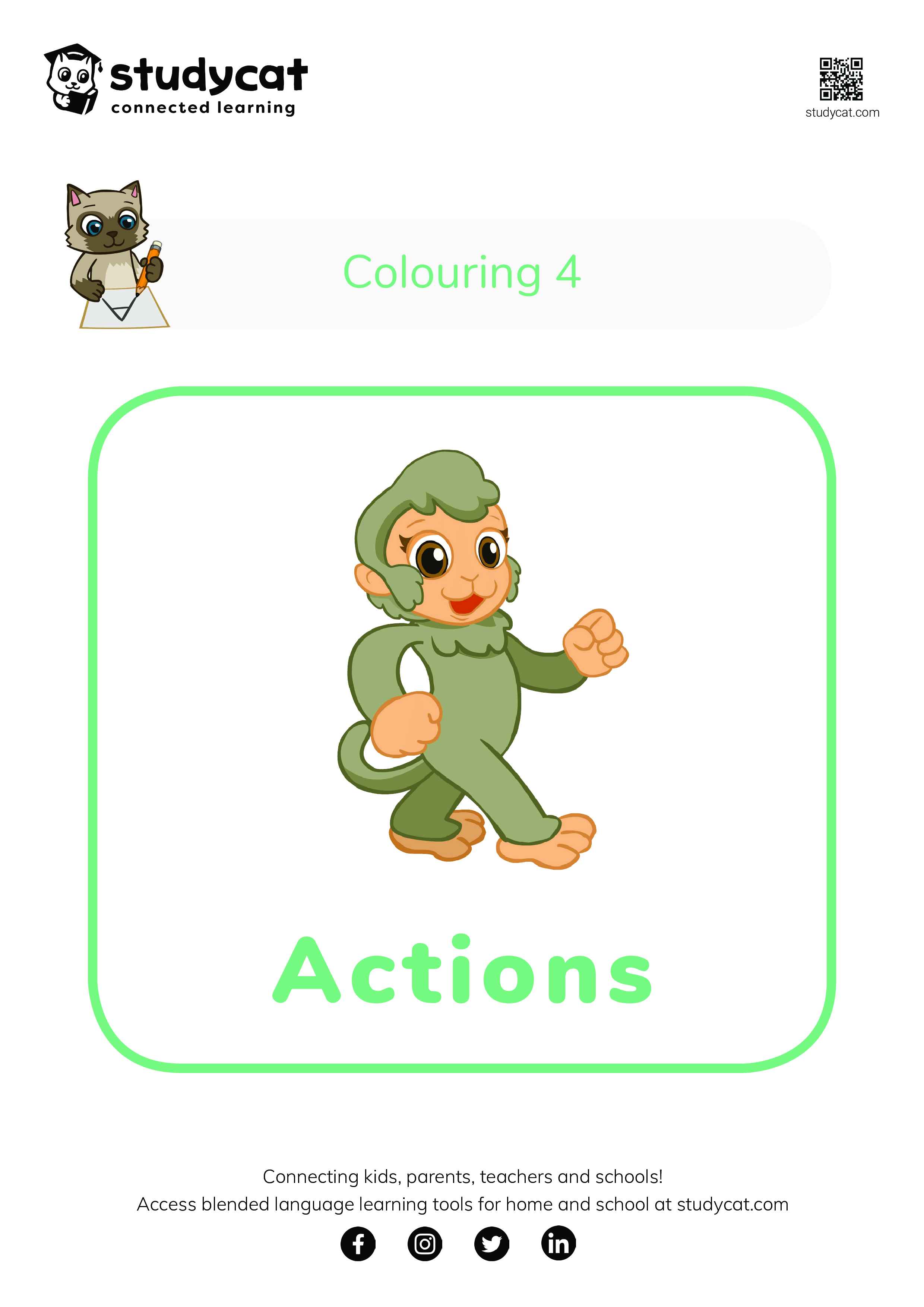 Simple action verbs colouring