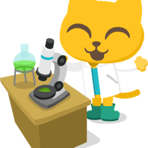 Studycat with science equipment